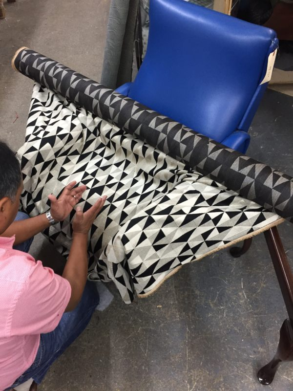Italian arm chairs getting upholstered